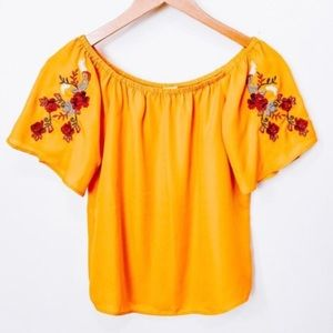 Lily White Yellow Floral Embroidered Blouse